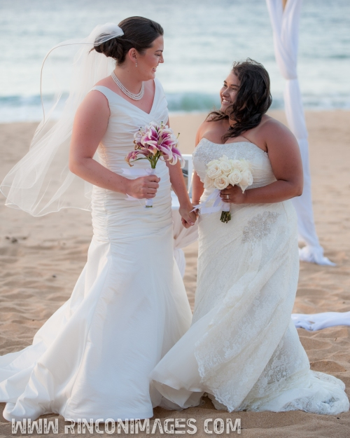Elizabeth and Adriana together on the beach right after they were pronounced wife and wife. LGBT, Same Sex Wedding Photographer Puerto Rico