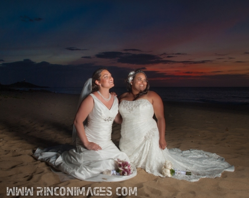 A gorgeous sunset makes for incredible photographs of the happy couple -LGBT, Same Sex Wedding Photographer Puerto Rico