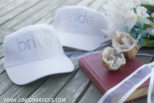 Cute matching Bride and Bride hats for Jett and Chelseas Same Sex wedding on Culebra island.