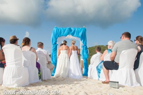 "The ladies get ready to say ""I do!""  - LGBT, same sex friendly wedding photographer culebra island."