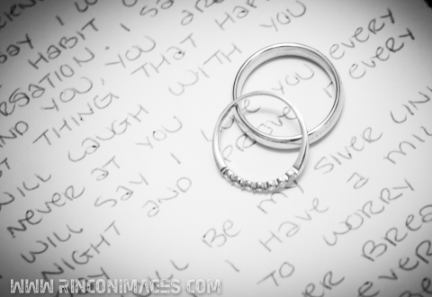 Wedding Rings on top of Vows