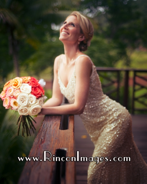 Bridal portrait of Suzanne on her balcony before the wedding - Rincon, Puerto Rico Wedding Photographer