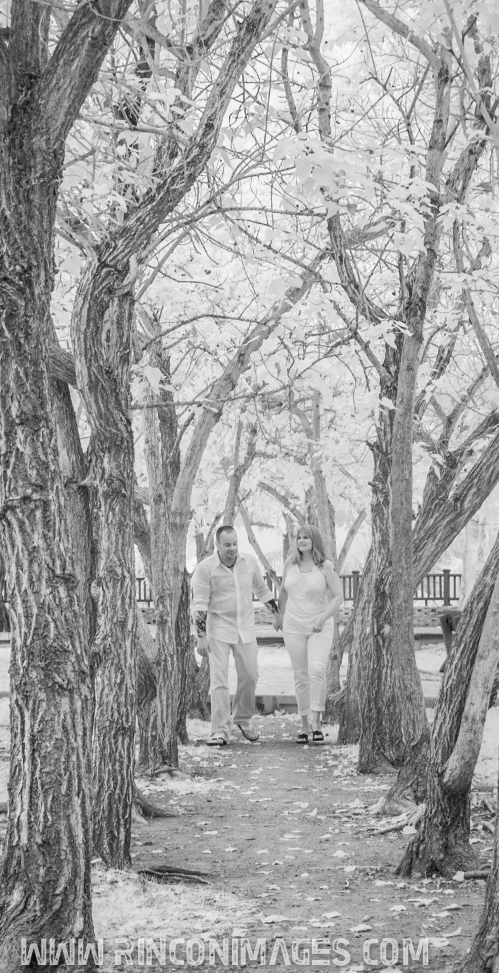 An infrared photograph of the bridal couple the day before their wedding at the Light House park in Rincon, Puerto Rico. Creative Portrait and Wedding Photographer Puerto Rico