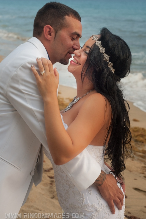 Bride and groom after their ceremony on the beach in Rincon, Puerto Rico. - Wedding photographer puerto rico