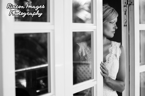 Black and white wedding photography of a bride in Rincon, Puerto Rico.