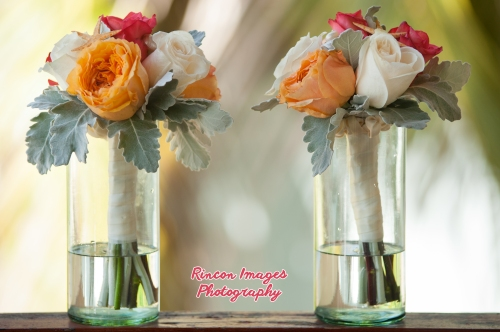 Bridesmaid Bouquets, Orange and White Roses. Rincon wedding photographer Puerto Rico.