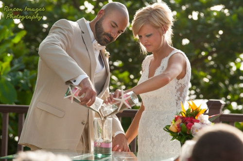 Sand Ceremony at the Rincon light house. Wedding photographer Rincon Puerto Rico