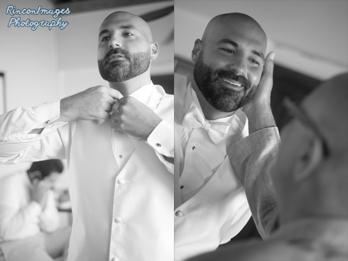 The groom fixes his bow tie before the wedding ceremony in rincon puerto rico. wedding photographer rincon puerto rico