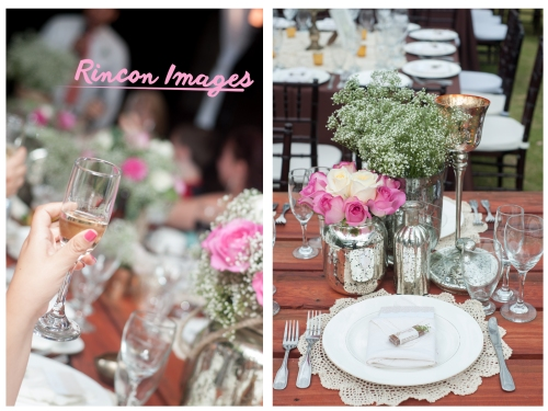 Photograph of a champagne glass and pink roses and white table setting. Lovely wedding decorations for an outdoor garden wedding.