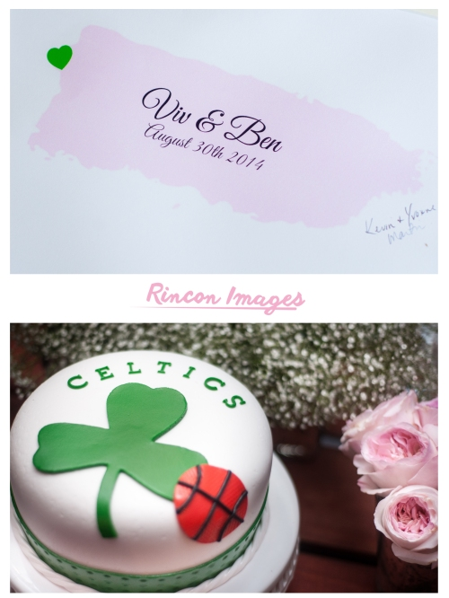 Photograph of a grooms cake with the celtics logo on it. Also in the photograph is a map of the island of puerto rico. Image created by Rincon Images wedding photographer in Puerto Rico.