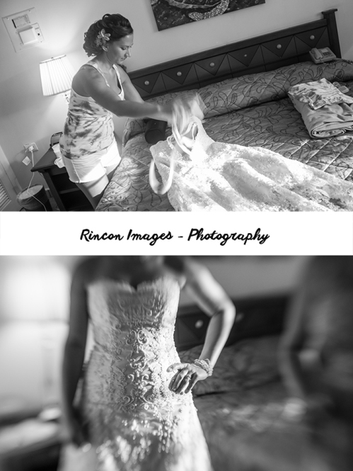 Black and white photograph of the Bride in her hotel room at Villa Cofresi before the wedding ceremony. Photography by Rincon Images Photography, Rincon, Puerto Rico. Wedding photographer Rincon, Puerto Rico.