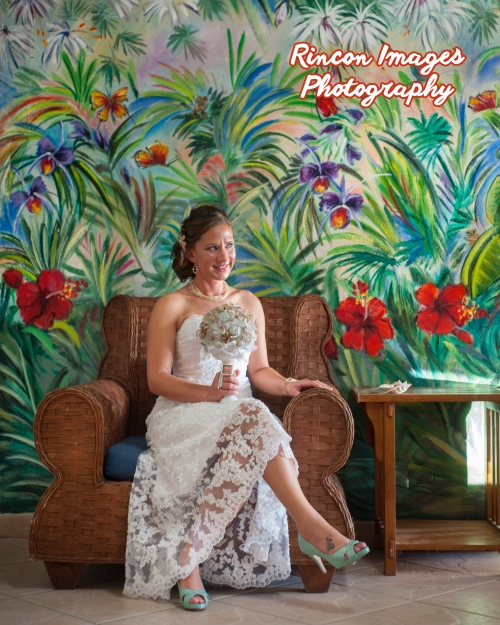 Photograph of the Bride in her hotel room at Villa Cofresi before the wedding ceremony. Photography by Rincon Images Photography, Rincon, Puerto Rico. Wedding photographer Rincon, Puerto Rico.