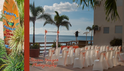 The ceremony set up at Villa Cofresi Hotel and Resort in Rincon, Puerto Rico. Photography by Rincon Images wedding photographer in Rincon Puerto Rico. Wedding photography in Rincon Puerto Rico.