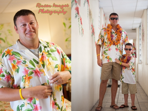 The groom and his son both wearing tropical hawaiin tshirts standing in the hallway at Villa Cofresi in Rincon, Puerto Rico. Photograph by  Rincon Images photography. Wedding photographer in Rincon Puerto Rico.