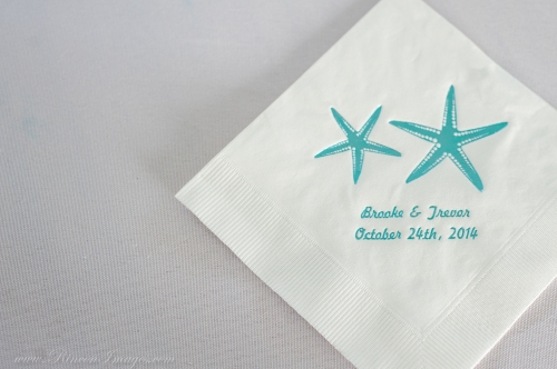 Teal wedding napkin with