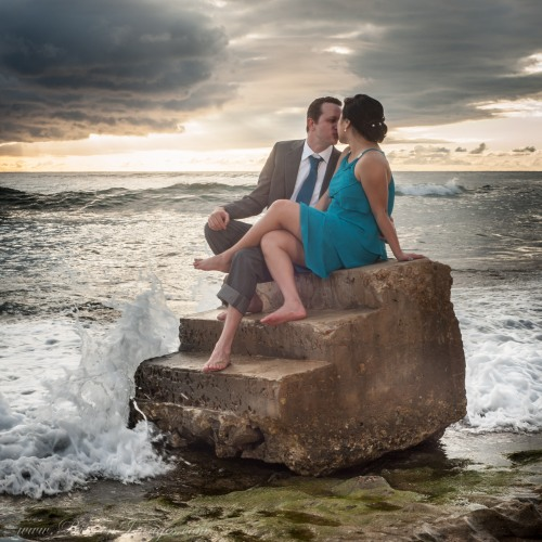 Steps beach wedding photograph, Rincon Puerto Rico. Wedding photographer Rincon Puerto Rico.