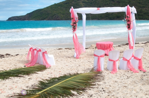The beautiful setup at Flamenco beach on Culebra Island, Puerto Rico. Flamenco beach is ranked the third most beautiful beach in the world. Flamenco beach is a gorgeous place for a wedding photographer to take pictures of a  happy couple!