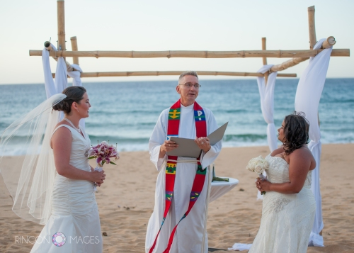 Gay marriage is not yet legal in Puerto Rico, but Mark Bowman performed a symbolic wedding ceremony on the beach in Arecibo, Puerto Rico.
