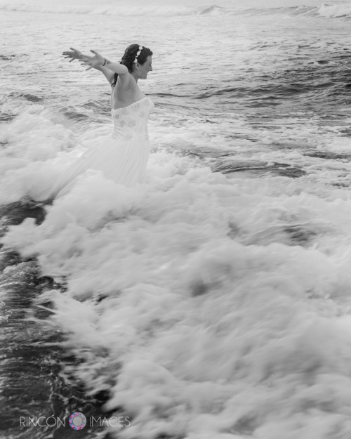 Feeling free! Jill takes the plunge after her wedding for some fun ocean pics.
