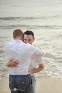 I love the expression on Cory's face in this photograph! The two of them were so genuinely happy on their special day.Photograph by Rincon Images LGBT wedding photographer Puerto Rico.