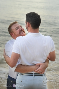 True love is a big smile and a long hug! This couple was so great to work with. I love photographing couples when I can see they are truly in love. Photograph by Rincon Images LGBT wedding photographer Rincon, Puerto Rico.