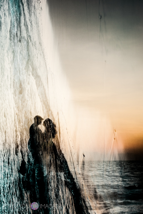 When making double exposure photographs it is important to experiment with the orientation of the camera. This particular photograph was made by combining a vertical image and a horizontal image.  Photograph by RIncon Images wedding photographer puerto rico.
