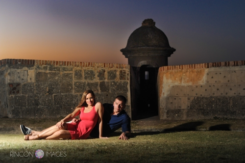 My off camera flash made this moody El Morro photograph possible. Having a variety of techniques and a selection of photography equipment makes it easy to have fun at any location any time of day. Photograph by Rincon Images wedding photographer Puerto Rico.
