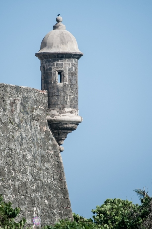 All over San Juan there are these 'garitas' or look out towers. The shape and texture of them is iconic to Viejo San Juan. I can just imagine in the past someone looking out through those tiny windows watching the horizon for sail ships coming in on the trade winds.