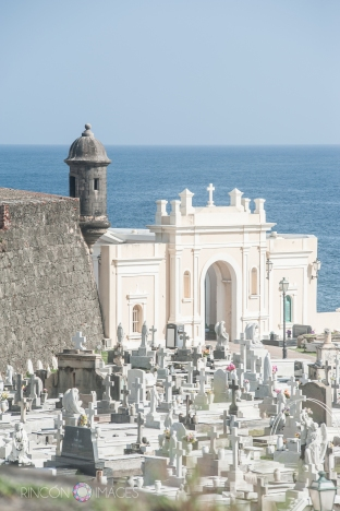 A view of the viejo san juan cemetery from afar.