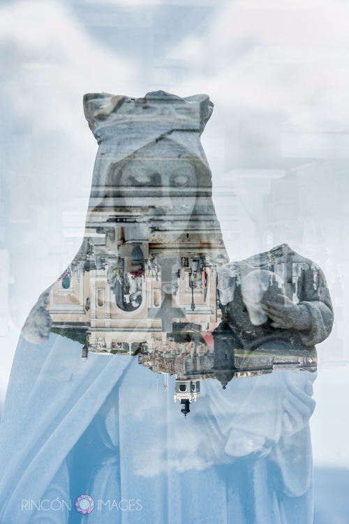 One thing I love doing with double exposures is playing with the orientation of the images. The flipped city scape against this woman's face is an interesting perspective.